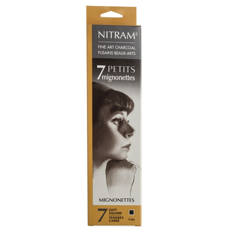 Nitram : Baton Mignonette Charcoal for Nitram Bâton : Pack of 7 : Extra Soft : 4mm