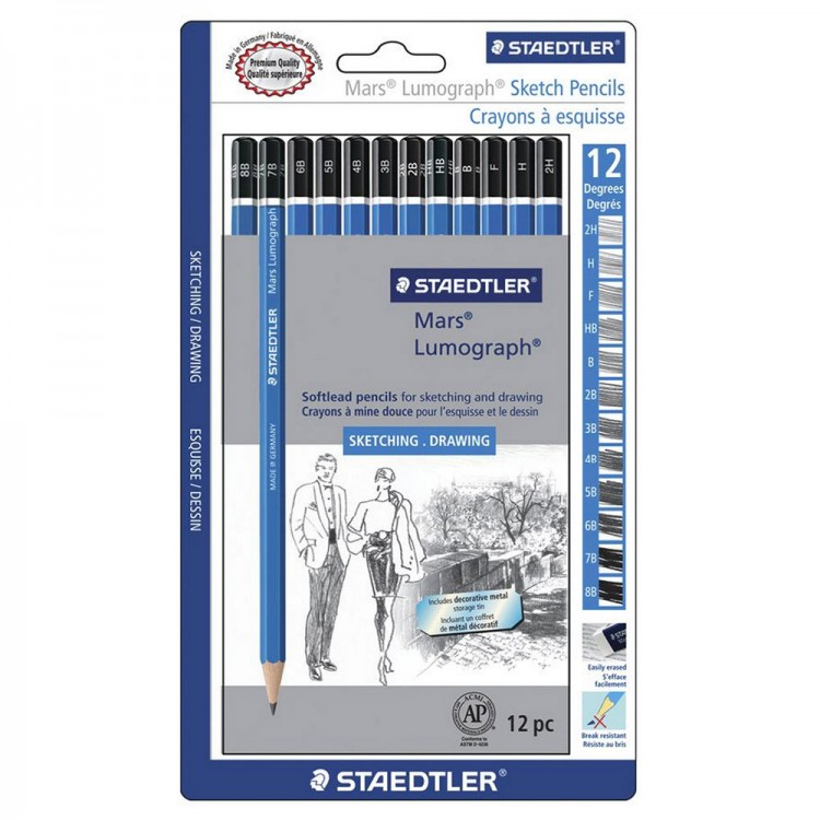 Staedtler : Mars Lumograph Set of 12 Sketching Pencils in metal tin : Softlead Pencils (8B to 2H)