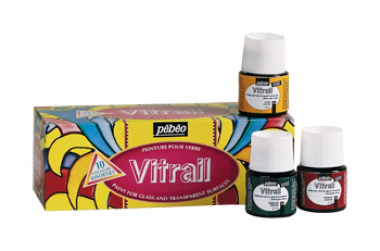 Pebeo VITRAIL School PACK - 10 ASSTORTED 45ml COLOURS