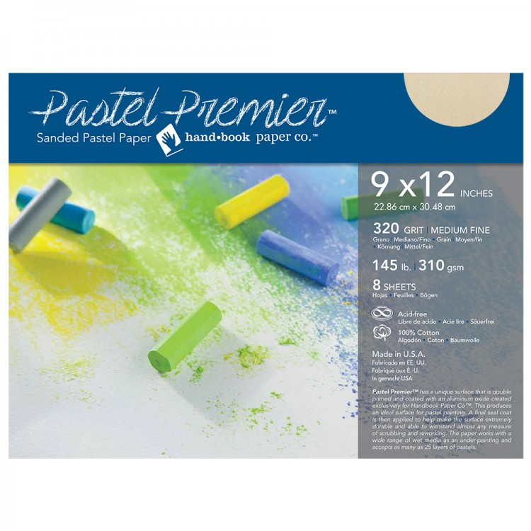 Global : Pastel Premier : Sanded Pastel Paper : Medium Grit : 9x12in : Pack of 8 : Buff