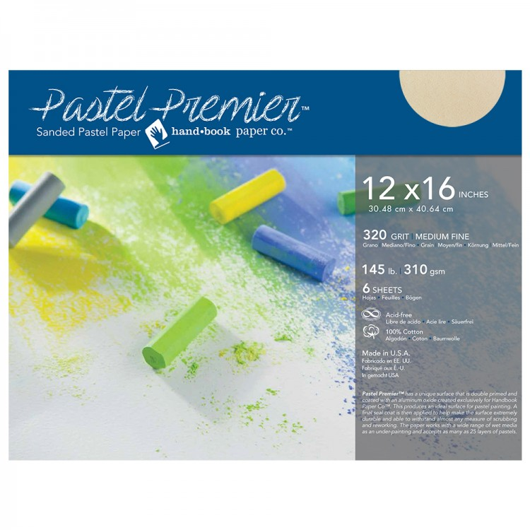 Global : Pastel Premier : Sanded Pastel Paper : Medium Grit : 12x16in : Pack of 6 : Buff