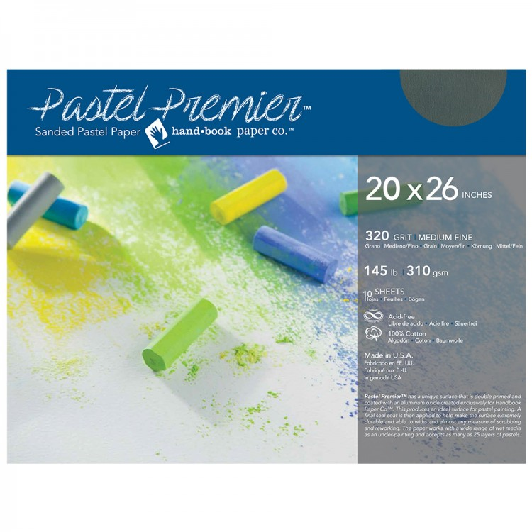 Global : Pastel Premier : Sanded Pastel Paper : Medium Grit : 20x26in : Pack of 10 : Slate