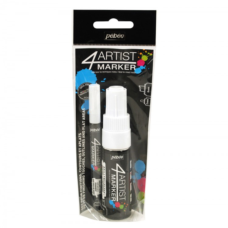 Pebeo : 4Artist Marker : Duo Set : 2mm and 8mm Nib : Set of 2 : White