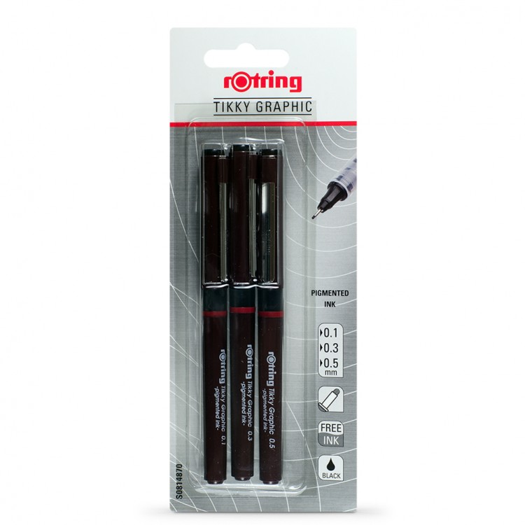 Rotring : Tikky Graphic Fineliner Pigment Pen : Black : 0.1, 0.3 & 0.5mm