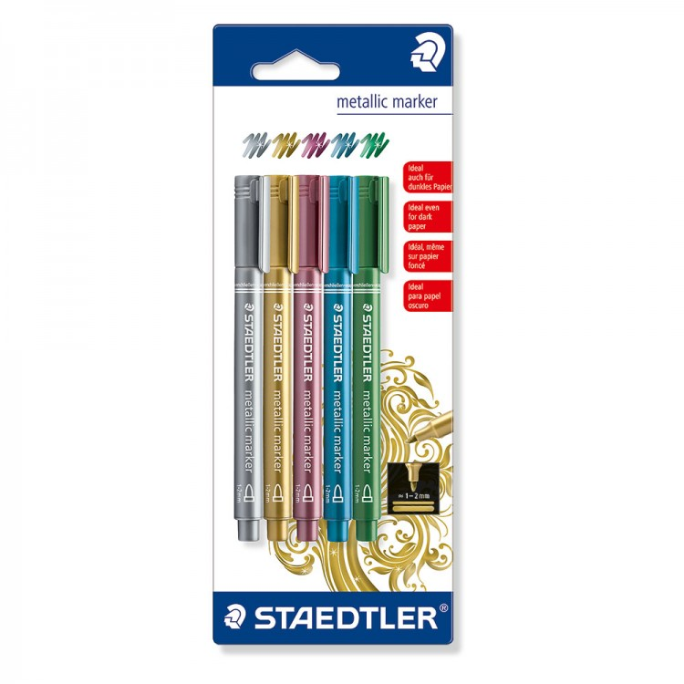 Staedtler : 5 Assorted Metallic Markers : Gold, Silver, Blue, Green and Rose