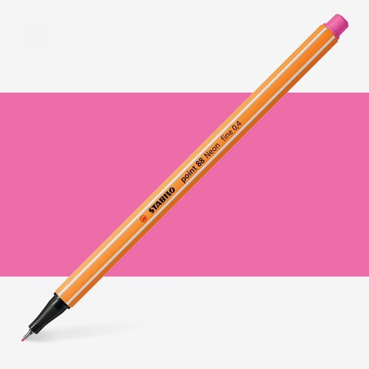 Stabilo : Point 88 : Watersoluble Fineliner Pen : 0.4mm : Fluorescent Pink