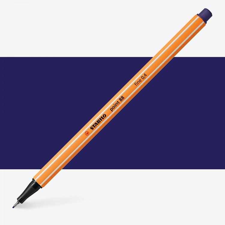 Stabilo : Point 88 : Watersoluble Fineliner Pen : 0.4mm : Night Blue