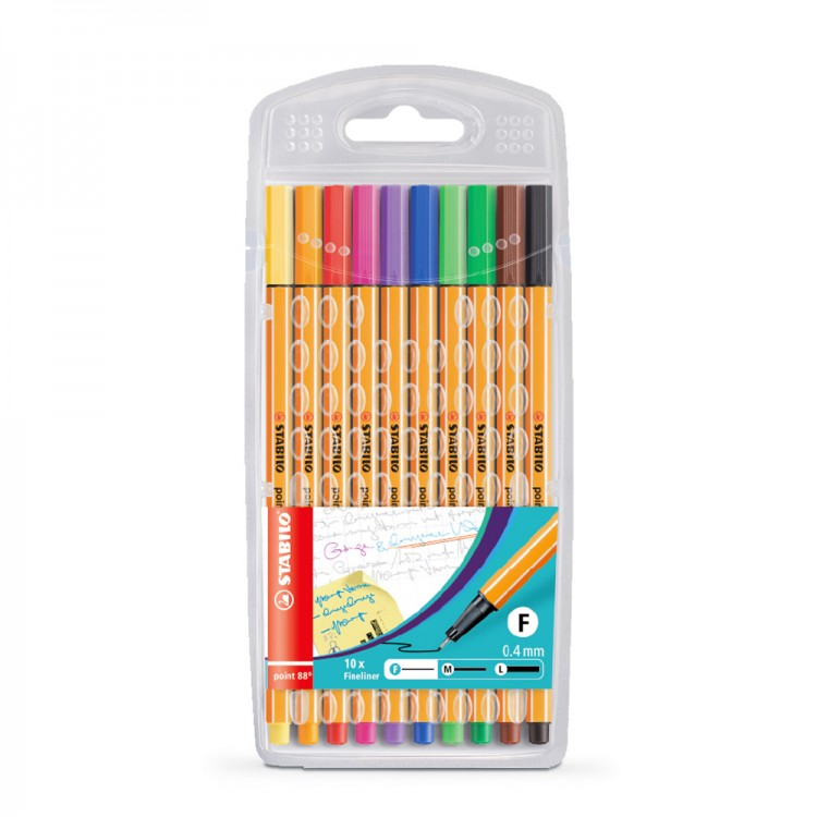 Stabilo : Point 88 : Watersoluble Fineliner Pen : 0.4mm : Wallet Set of 10