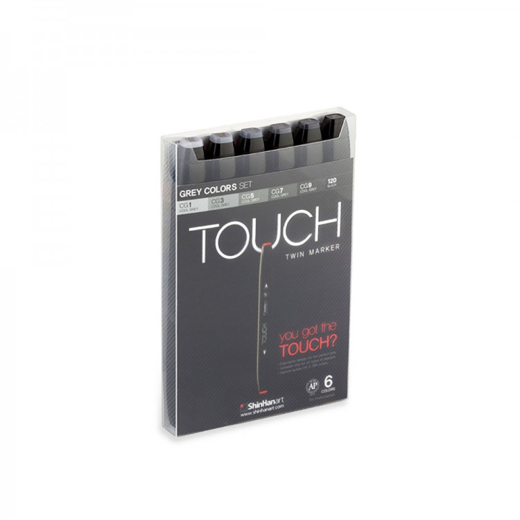 ShinHan : Touch Twin 6 Marker Pen Set : Grey Colors
