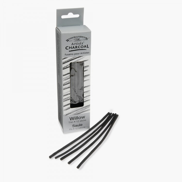 Winsor & Newton : Willow Charcoal : Thin : 12+ Pieces Per Pack