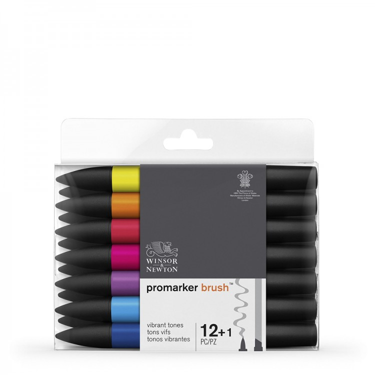 Winsor & Newton : Brush Marker : Set of 12 : Vibrant Tones
