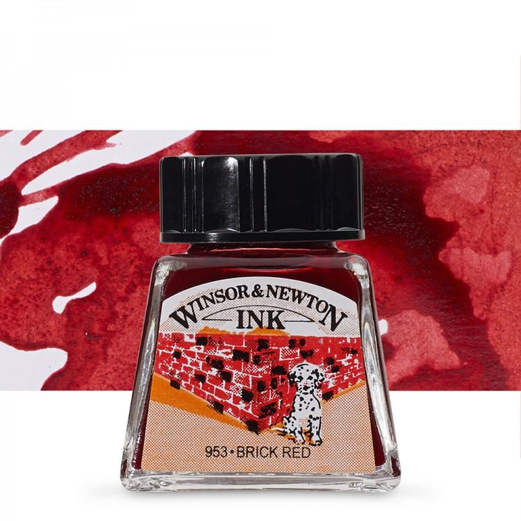 Winsor & Newton : Drawing Ink 14ml Bottle : Brick Red : (water resistant)