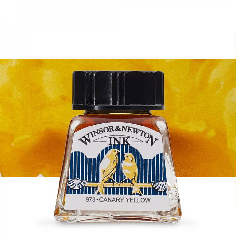Winsor & Newton : Drawing Ink 14ml Bottle : Canary Yellow : (water resistant)