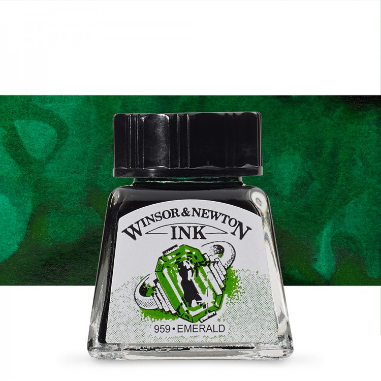 Winsor & Newton : Drawing Ink 14ml Bottle : Emerald : (water resistant)