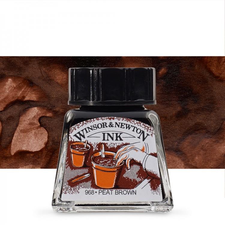 Winsor & Newton : Drawing Ink 14ml Bottle : Peat Brown : (water resistant)