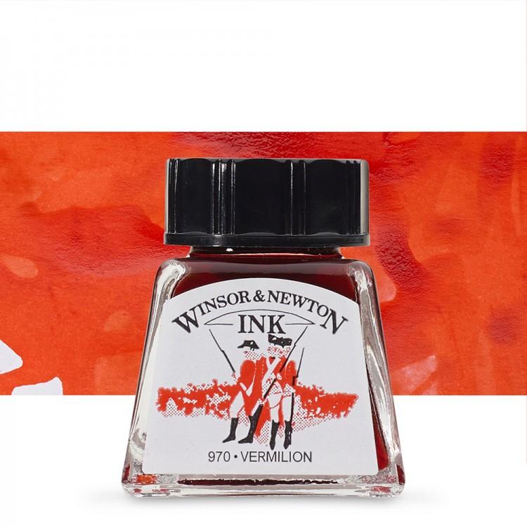 Winsor & Newton : Drawing Ink 14ml Bottle : Vermillion : (water resistant)
