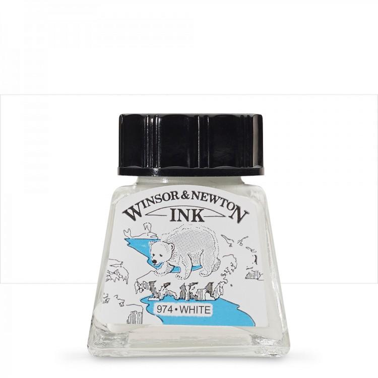 Winsor & Newton : Drawing Ink 14ml Bottle : White : (water resistant)