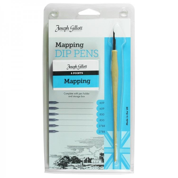 William Mitchell Calligraphy : Joseph Gillott Mapping Set : 6 Nibs and Pen Holder