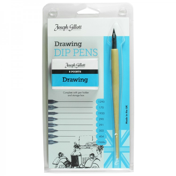 William Mitchell Calligraphy : Joseph Gillott Drawing Set : 8 Nibs and Pen Holder