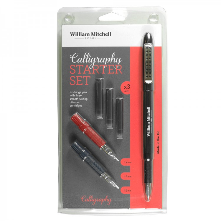 William Mitchell Calligraphy : Calligraphy Starter Set : Cartridge Pen with Ink and Nibs