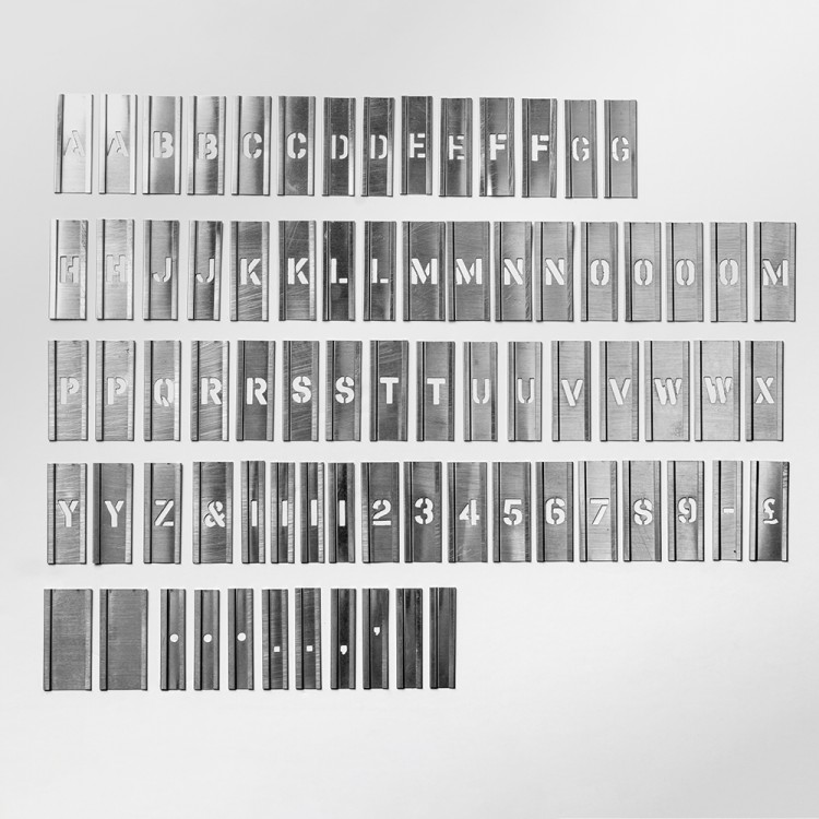 Handover : Interlocking Alphabet/Lettering Stencils in a 76 Piece Set : 1/2 in