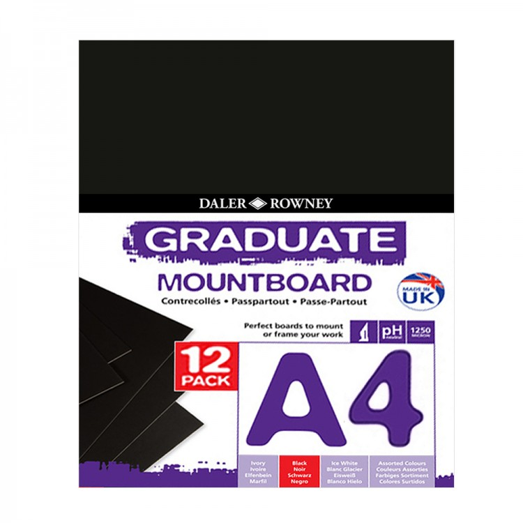 Daler Rowney : Graduate Mountboard A4 : Black : Pack of 12