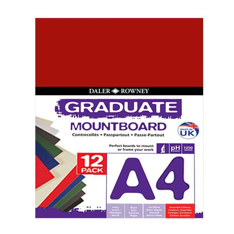 Daler Rowney : Graduate Mountboard A4 : Assorted : Pack of 12
