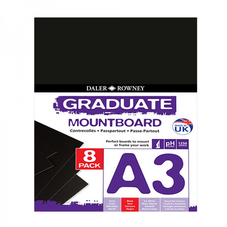 Daler Rowney : Graduate Mountboard A3 : Black : Pack of 8