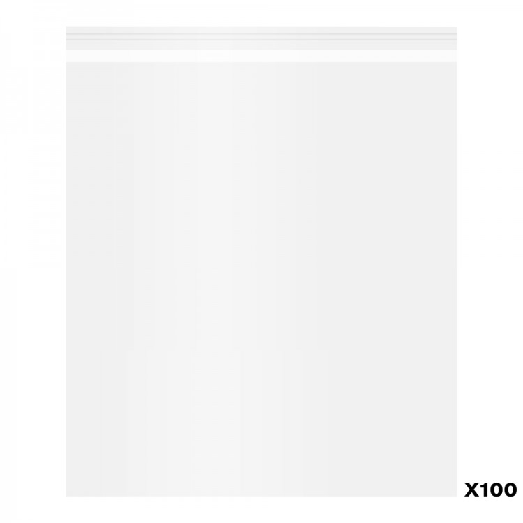 100 Pack of Polypropylene Bags self-seal : 10x12 in.
