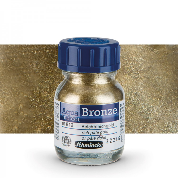 Schmincke : Aqua Bronze Powder : 20ml : Rich Pale Gold : By Road Parcel Only