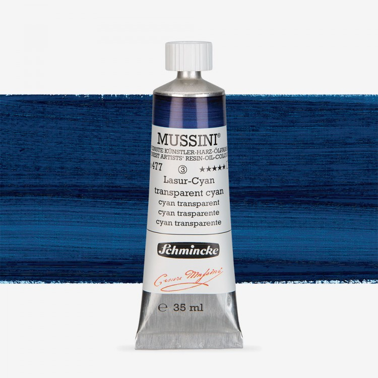 Schmincke : Mussini Oil Paint : 35ml : Translucent Cyan