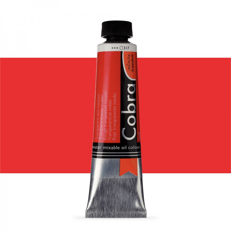 Talens : Cobra Artist Water Mixable Oil Paint : 40ml Transparent Red Medium