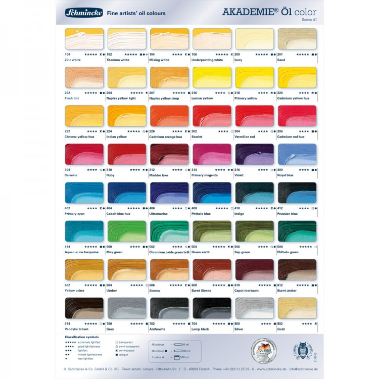 Schmincke : Akademie Oil Paint : Colour Chart