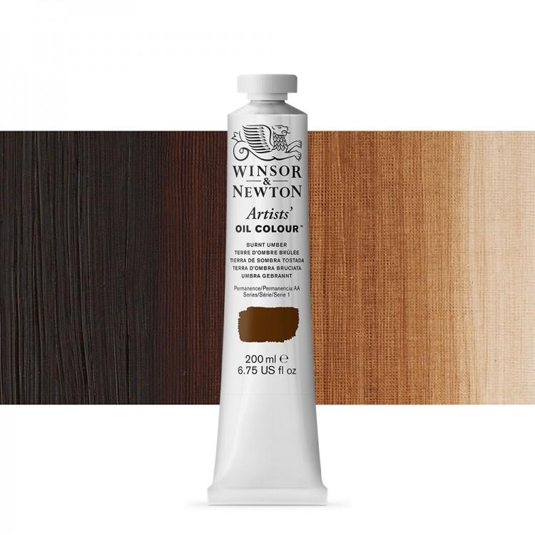 Winsor & Newton : Artists Oil Paint : 200ml : Burnt Umber