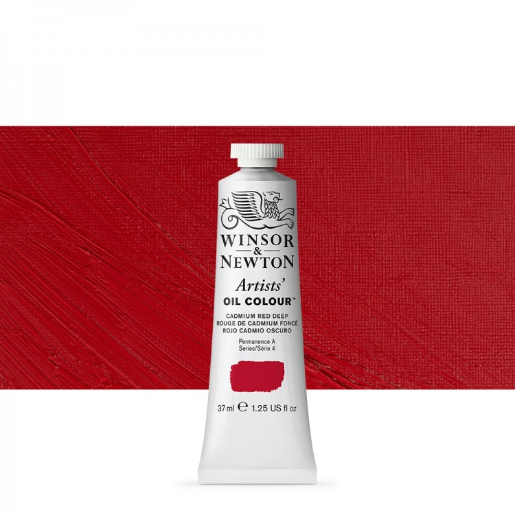 Winsor & Newton : Artists Oil Paint : 37ml Tube : Cadmium Red Deep