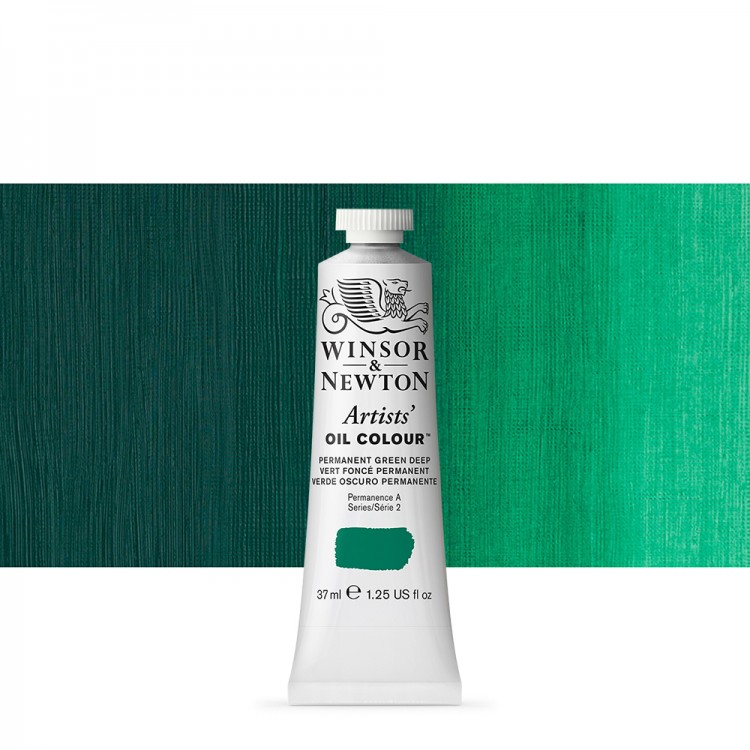 Winsor & Newton : Artists Oil Paint : 37ml Tube : Permanent Green Deep