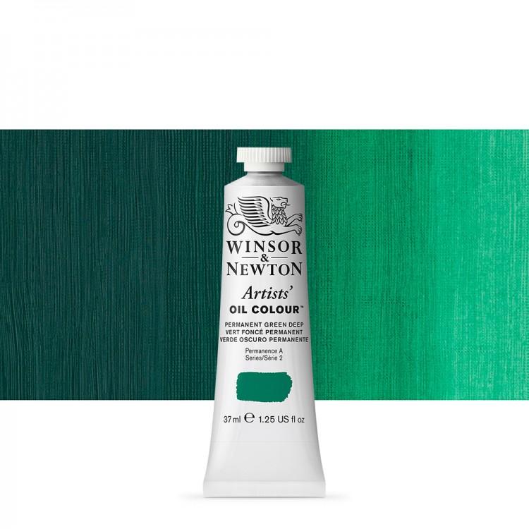 Winsor & Newton : Artists Oil Paint : 37ml Tube : Permanent Green Deep
