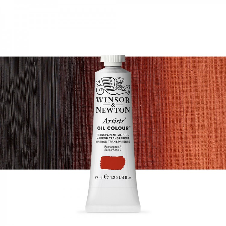 Winsor & Newton : Artists Oil Paint : 37ml Tube : Transparent Maroon