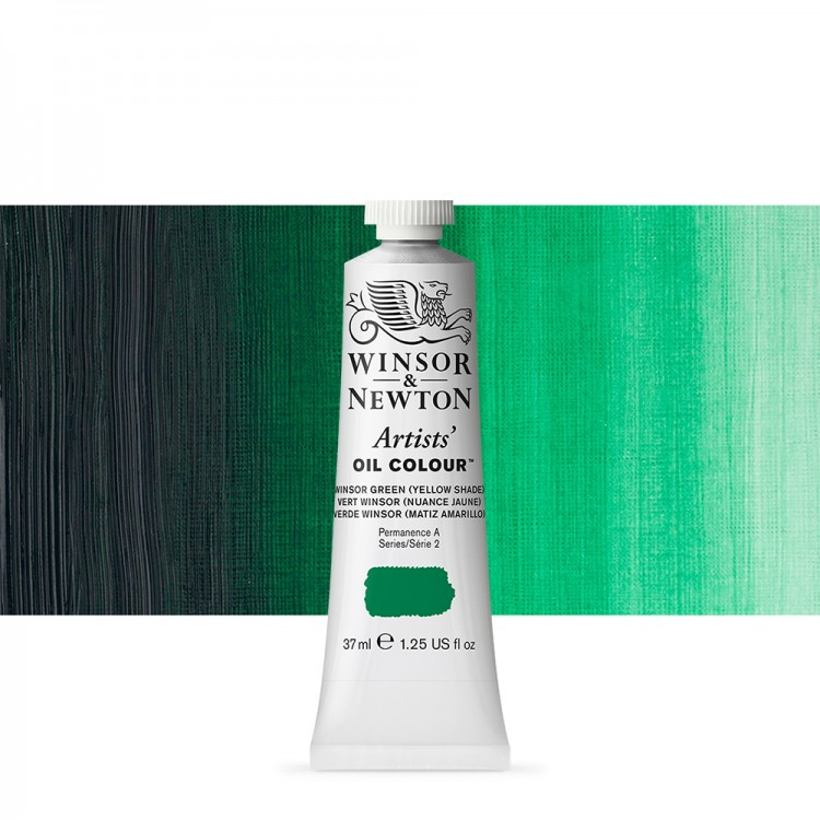 Winsor & Newton : Artists Oil Paint : 37ml Tube : Winsor Green (Yellow)