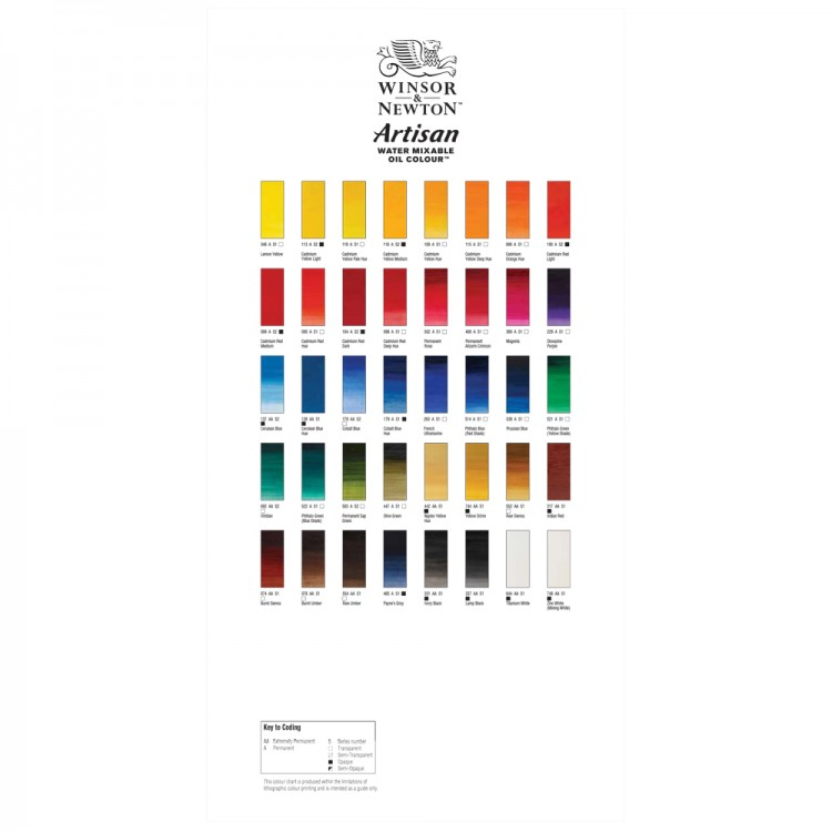 Winsor & Newton : Artisan : Water Mixable Oil Paint : Hand Painted Colour Chart