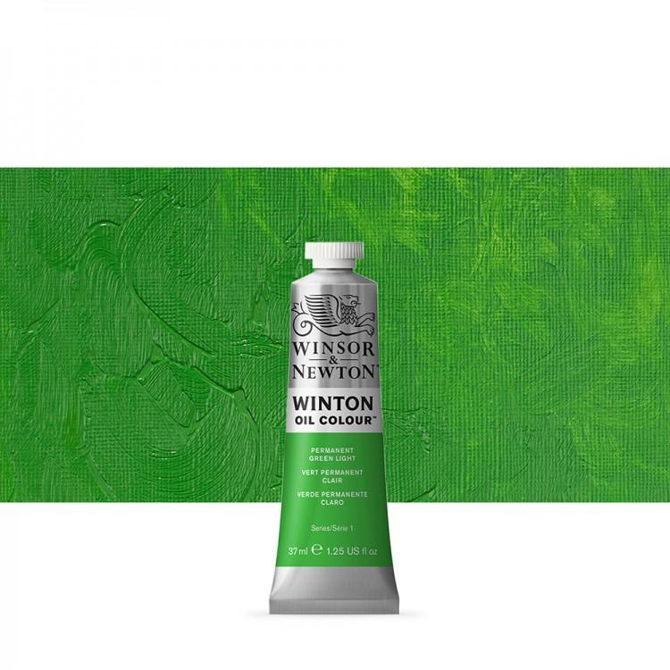 Winsor & Newton : Winton : Oil Paint : 37ml : Permanent Green Light