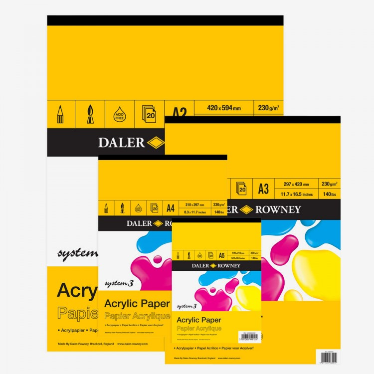 Daler Rowney : System 3 Acrylic Pads : 230 gsm : 20 sheets