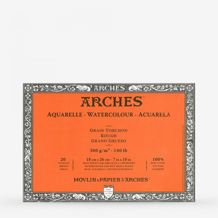 Arches : Aquarelle Block : 10in x 7in Rough - 20 sheets - Glued 4 sides