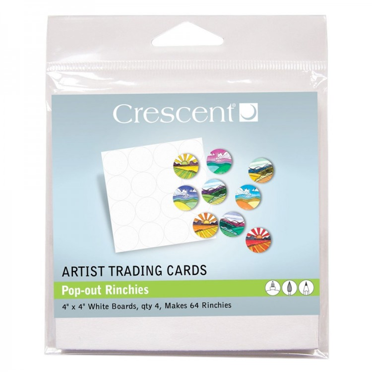 Crescent : Artist Trading Cards : Rinchies White : 4 x4in : Pack 4