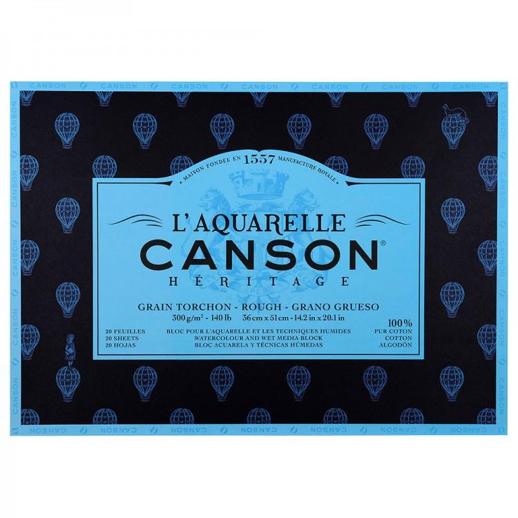Canson : Heritage : Watercolour Paper Block : 300gsm : 36x51cm : 20 Sheets : Rough