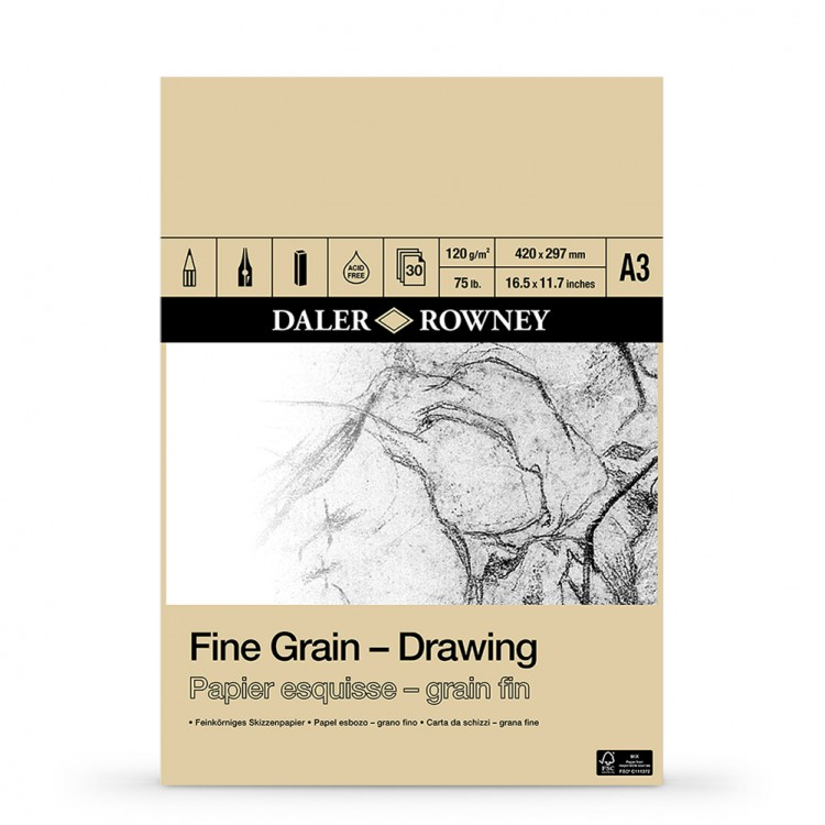 Daler Rowney : Fine Grain Drawing Pad : Cartridge Paper : 120gsm : A3