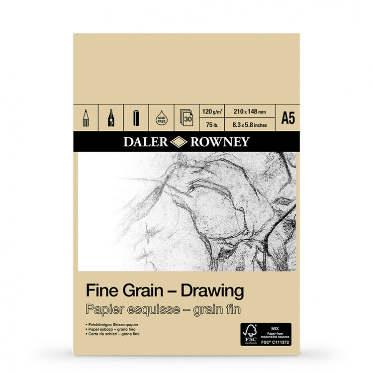 Daler Rowney : Fine Grain Drawing Pad : Cartridge Paper : 120gsm : A5