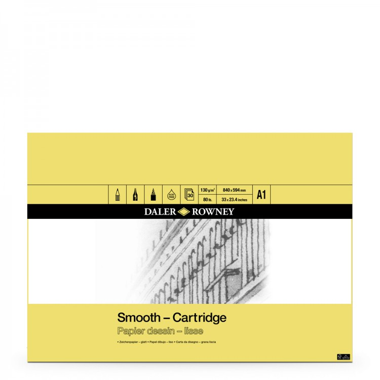 Daler Rowney : Smooth Cartridge Pad : 130gsm : 30 Sheets : Acid Free : A1
