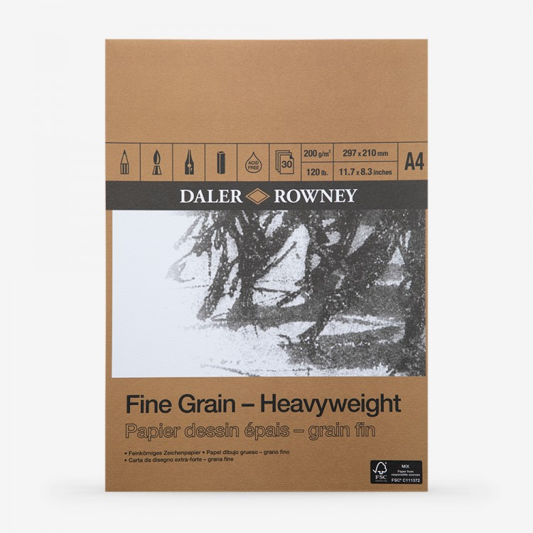 Daler Rowney : Fine Grain : Heavyweight Cartridge Pad : 200gsm : 30 Sheets : A4