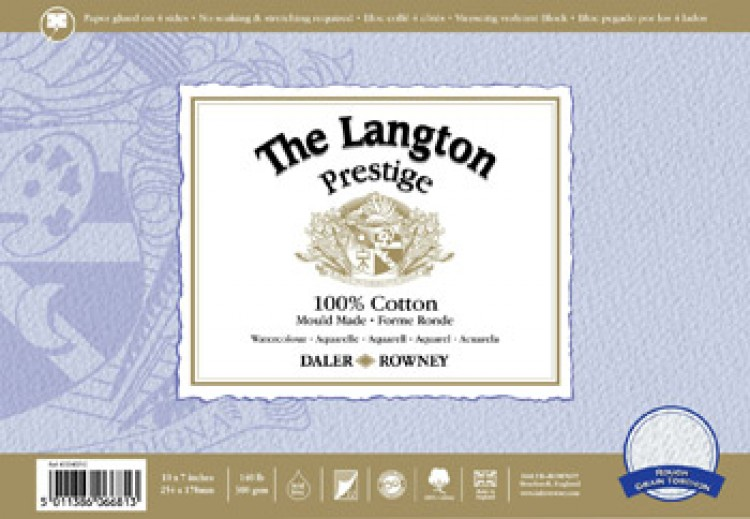 Daler Rowney : Langton : Prestige : Watercolour Paper : Block : 14x20in : Rough